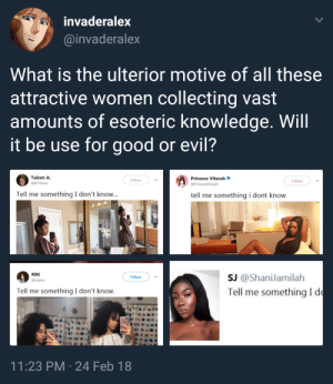 Good, Princess, and What Is: invaderalex  @invaderalex  What is the ulterior motive of all these  attractive women collecting vast  amounts of esoteric knowledge. Will  it be use for good or evil?  Taleen A.  @ltsTaleen  Princess Vitarah  @PrincessVitarah  Follow  Follow  Tell me something I don't know...  tell me something i dont know  RiRi  @oxjxxo  sJ @ShaniJamilah  Tell me something Id  Follow  Tell me something I don't know.  11:23 PM 24 Feb 18 meirl