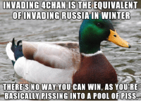 4chan, Winter, and Pool: INVADING 4CHAN IS THE EQUIVALENT  OFINVADING RUSSIAIN WINTER  THERE'S NO WAY YOU CAN WIN, AS YOU'RE  BASICALLY PISSING INTO A POOL OF PISS.