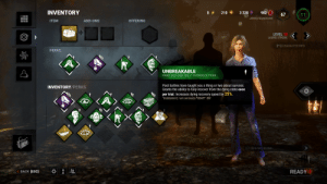 """Bloodhunt coming in clutch for the people like me who are tired of getting slugged as Laurie.: INVENTORY  210  3 320  902  67  11  Johnny Nappleseed  ITEM  ADD-ONS  OFFERING  LEVEL 15  (K)  LAURIE STRODE  [F1] CHARACTER INFO  PERKS  UNBREAKABLE  RARE WILLIAM """"BILL"""" OVERBECK PERK  Past battles have taught you a thing or two about survival.  Grants the ability to fully recover from the dying state once  per trial. Increases dying recovery speed by 25%.  """"Goddammit, I am seriously FUBAR!"""" -Bill  INVENTORY/PERKS  Click here to chat..  READY  BACK [ESC] Bloodhunt coming in clutch for the people like me who are tired of getting slugged as Laurie."""