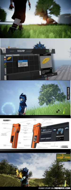A fan is making a Pokemon game in UE4omg-humor.tumblr.com: INVENTORY  LT  EQUIP CONSUME  RT  QUEST  $400  1/18  Basic  Umbrella BI  Action  Equip  Add to Pocket  Drop Item  S30  An Untuels Designed lo  proted you Son an o  sunight  B Back  (X) Action  Safety  Hanger  Photographc Camera  VEER  Prmery Camera  Indication  Light  Primary Camera  Viewtinder-  Pokedex  Model  C12  Speaker-  S Metang  En en to on  Marufactuter  Logo  Charging  Socket  Display Weh  Touch And  IndicationL.igint  Button A  Buttan B  Deugn  Name  -Holagraph Projectars  Traner  Microphone  Name  Holocouch Dsplay  Manufacturer  Rubber PaddingSupport  Saarsmanta  FUNNY STUFF ON MEMEPIX.COM  MEMEPIX.COM A fan is making a Pokemon game in UE4omg-humor.tumblr.com
