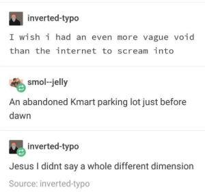 Internet, Jesus, and Scream: inverted-typo  I wish i had an even more vague void  than the internet to scream into  smol-jelly  An abandoned Kmart parking lot just before  dawn  inverted-typo  Jesus I didnt say a whole different dimension  Source: inverted-typo The void