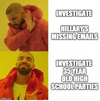 Memes, School, and 🤖: INVESTIGATE  MISSINGEMAILS  INVESTIGATE  35 YEAR  OLDHIGH  SCHOOL PARTIES  ingfip.com (GC)