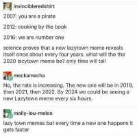 """This kid in my class came up to me and whispered """"we are number one"""" in my ear and I started wheezing: invincibleredshirt  2007: you are a pirate  2012: cooking by the book  2016: we are number one  science proves that a new lazytown meme reveals  itself once about every four years. what will the the  2020 lazytown meme be? only time will tell  mecka mecha  No, the rate is increasing. The new one will be in 2019,  then 2021, then 2022. By 2024 we could be seeing a  new Lazytown meme every six hours.  A molly-lou-melon  lazy town memes but every time a new one happens it  gets faster This kid in my class came up to me and whispered """"we are number one"""" in my ear and I started wheezing"""