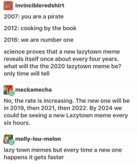 I have started my school break by doing nothing today what a great start ≪sam≫: invincibleredshirt  2007: you are a pirate  2012: cooking by the book  2016: we are number one  science proves that a new lazytown meme  reveals itself once about every four years.  what will the the 2020 lazytown meme be?  only time will tell  meckamecha  No, the rate is increasing. The new one will be  in 2019, then 2021, then 2022. By 2024 we  could be seeing a new Lazytown meme every  six hours.  molly-lou-melon  lazy town memes but every time a new one  happens it gets faster I have started my school break by doing nothing today what a great start ≪sam≫