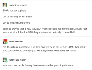 Lazytown Memes: invincibleredshirt  2007: you are a pirate  2012: cooking by the book  2016: we are number one  science proves that a new lazytown meme reveals itself once about every four  years. what will the the 2020 lazytown meme be? only time will tell  meckamecha  No, the rate is increasing. The new one will be in 2019, then 2021, then 2022.  By 2024 we could be seeing a new Lazytown meme every six hours.  molly-lou-melon  lazy town memes but every time a new one happens it gets faster Lazytown Memes