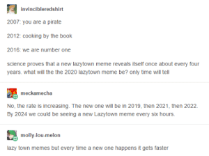 : invincibleredshirt  2007: you are a pirate  2012: cooking by the book  2016: we are number one  W  science proves that a new lazytown meme reveals itself once about every four  years. what will the the 2020 lazytown meme be? only time will tell  meckamecha  No, the rate is increasing. The new one will be in 2019, then 2021, then 2022  By 2024 we could be seeing a new Lazytown meme every six hours.  molly-lou-melon  lazy town memes but every time a new one happens it gets faster