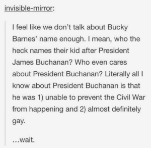 Oh Captain, my Captain: invisible-mirror:  I feel like we don't talk about Bucky  Barnes' name enough. I mean, who the  heck names their kid after President  James Buchanan? Who even cares  about President Buchanan? Literally all I  know about President Buchanan is that  he was 1) unable to prevent the Civil War  from happening and 2) almost definitely  gay.  ...wait. Oh Captain, my Captain
