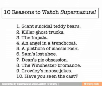 Memes, Shoes, and Angel: io Reasons to Watch Supernatural  l. Giant suicidal teddy bears.  2. Killer ghost trucks.  3. The Impala.  4. An angel in a trenchcoat.  5. A plethora of classic rock.  6. Sam's lost shoe.  7. Dean's pie obsession.  8. The Winchester bromance.  9. Crowley's moose jokes.  10. Have you seen the cast?  Reinvented by  Supernatural FandomAssbutt for iPunny  ifurany mobi And deaaasn -munia