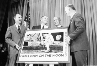 THIS DAY IN HISTORY: The Apollo 11 astronauts, Michael Collins, Neil Armstrong and Edwin Aldrin, join Postmaster General Winton Blount on September 9, 1969 in Washington to dedicate a postage stamp commemorating the first moon landing.: IO s  AIR MAIL  FIRST MAN ON THE MOON  AP Photo Charles Harrity THIS DAY IN HISTORY: The Apollo 11 astronauts, Michael Collins, Neil Armstrong and Edwin Aldrin, join Postmaster General Winton Blount on September 9, 1969 in Washington to dedicate a postage stamp commemorating the first moon landing.