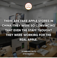 "Apple, Dell, and Facts: iPad 2  Smart Covers  THERE ARE FAKE APPLE STORES IN  CHINA. THEY WERE SO CONVINCING  THAT EVEN THE STAFF THOUGHT  THEY WERE WORKING FOR THE  REAL APPLE.  TECHNOLOGY FACTS  @TECHNO BOLT ""There are more than 30 Apple Stores in the southern Chinese town of Shenzhen. But Apple only has one official store and five authorised dealers in the area."" - Source: (businessinsider) http:-bit.ly-2sMvHTX - fact technobolt technology tech apple iphone ipod ipad samsung s7 hp dell acer lenovo asus cool innovation inspirational microsoft windows mac osx awesome wow damn nice amazing oneplus smartphone phone"