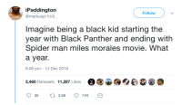 Representation matters: iPaddington  @markuspr1m3  Follow  Imagine being a black kid starting the  year with Black Panther and ending with  Spider man miles morales movie. What  a year.  6:06 pm -14 Dec 2018  2,460 Retweets 11,287 Likes Representation matters