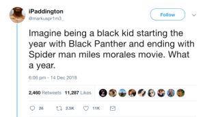 Representation matters by commonvanilla MORE MEMES: iPaddington  @markuspr1m3  Follow  Imagine being a black kid starting the  year with Black Panther and ending with  Spider man miles morales movie. What  a year.  6:06 pm -14 Dec 2018  2,460 Retweets 11,287 Likes Representation matters by commonvanilla MORE MEMES