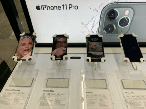 """I did this with no regrets: iPhone 11 Pro  12:20  12:20  12:20  40% Charged  100% Charged  99% Charged  iPhone XR  iPhone 11 Pro  iPhone 11 Pro Max  iPhone 11  Triple  Triple  256 GB 12MP  Dual  5.8"""" 