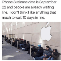 If you're copping, go to my story and swipe up. or go to (Staggering.shop) on the web: iPhone 8 release date is September  22 and people are already waiting  line. I don't think I like anything that  much to wait 10 days in line. If you're copping, go to my story and swipe up. or go to (Staggering.shop) on the web