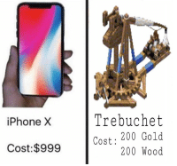 "<p>With the introduction of the iPhone X, I think this will gain value quickly. via /r/MemeEconomy <a href=""http://ift.tt/2fo27Mz"">http://ift.tt/2fo27Mz</a></p>: iPhone X  Trebuchet  Cost: 200 Gold  200 Wood  Cost:$999 <p>With the introduction of the iPhone X, I think this will gain value quickly. via /r/MemeEconomy <a href=""http://ift.tt/2fo27Mz"">http://ift.tt/2fo27Mz</a></p>"