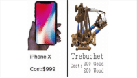 trebuchet: iPhone X  Trebuchet  Cost: 200 Gold  200 Wood  Cost:$999