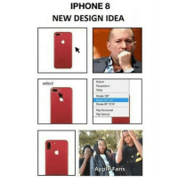 Apple, Memes, and Phone: IPHONE8  NEW DESIGN IDEA  Distort  select  Warp  Rotate 150  Rotate 9 CC  Rotate 90 ccw  Fig Horizental  p Vertical  Apple Fans The only thing I don't like about my phone is the emojis😰