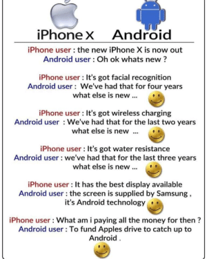 Android, Apple, and Bad: iPhoneX  Android  iPhone user the new iPhone X is now out  Android user: Oh ok whats new?  iPhone user: It's got facial recognition  Android user We've had that for four years  what else is new...  iPhone user : It's got wireless charging  Android user We've had that for the last two years  what else is new  iPhone user : It's got water resistance  Android user we've had that for the last three years  what else is new..  iPhone user : It has the best display available  Android user: the screen is supplied by Samsung,  it's Android technology  iPhone user What am i paying all the money for then?  Android user: To fund Apples drive to catch up to  Android Apple Bad Android Good
