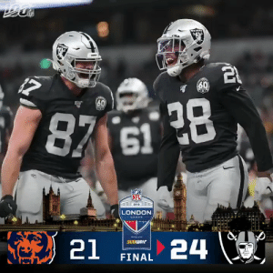FINAL: @iAM_JoshJacobs scores 2 TDs and the @Raiders win the first international game of the 2019 season! #CHIvsOAK https://t.co/S0hafEAzOn: IPLA  60  30  87 61 28  (NFL  2019  LONDON  GAMES  24  SUBWAY  21  FINAL FINAL: @iAM_JoshJacobs scores 2 TDs and the @Raiders win the first international game of the 2019 season! #CHIvsOAK https://t.co/S0hafEAzOn
