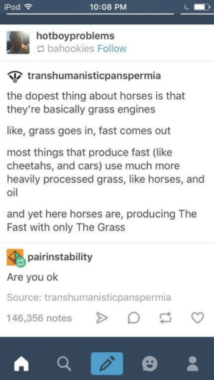 Fat Gas: iPod  10:08 PM  hotboyproblems  bahookies Follow  tanshumanisticpanspermia  the dopest thing about horses is that  they're basically grass engines  like, grass goes in, fast comes out  most things that produce fast (like  cheetahs, and  cheetahs, and cars) use much more  heavily processed grass, like horses, and  oil  and yet here horses are, producing The  Fast with only The Grass  pairinstability  Are you ok  Source: transhumanisticpanspermia  146,356 notes Fat Gas