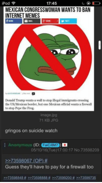 iPod  17:45  D  MEXICAN CONGRESSWOMAN WANTS TO BAN  INTERNET MEMES  Donald Trump wants a wall to stop illegal immigrants crossing  the US/Mexican border, but one Mexican official wants a firewall  to stop Pepe the Frog  image jpg  71 KB JPG  gringos on suicide watch  Anonymous (ID:  FaiCl8M7  05/10/16 Tue) 17:00:17 No. 73598209  73598067 (OP)  Guess they'll have to pay for a firewall too  73598848 >>73598888 >>73599200 >>73599735 meanwhilings in taconistan ^^