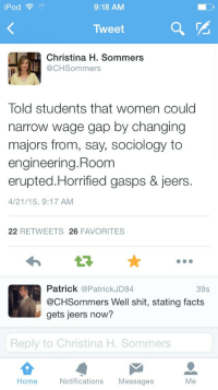 Facts, Shit, and Home: iPod  9:18 AM  Tweet  Christina H. Sommers  @CHSommers  Told students that women could  narrow wage gap by changing  majors from, say, sociology to  engineering. Room  erupted.Horrified gasps & jeers.  4/21/15, 9:17 AM  22 RETWEETS 26 FAVORITES  Patrick @PatrickJD84  @CHSommers Well shit, stating facts  gets jeers now?  39s  Reply to Christina H. Sommers  Home  Notifications Messages  Me