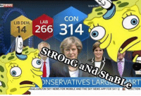 Ironic, News, and Party: Ipsos Me  CON  LAB  LIB DEM  266 314.  O  ONSERVATIVESLARERIBLART  ON SKY NEWS FOR MOBILE AND THE SKY NEWS APP FOR SKY Q  ECTION