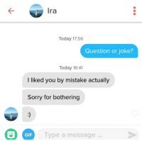 Gif, Sorry, and Today: Ira  Today 17:56  Question or joke?  Today 18:41  l liked you by mistake actually  Sorry for bothering  GIF  Type a message... Theyre polite, but to the point, in Berlin.