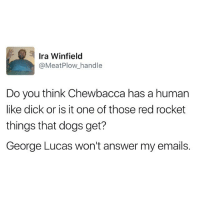 Chewbacca, Dogs, and Funny: Ira Winfield  @Meat Plow handle  Do you think Chewbacca has a human  like dick or is it one of those red rocket  things that dogs get?  George Lucas won't answer my emails. George?