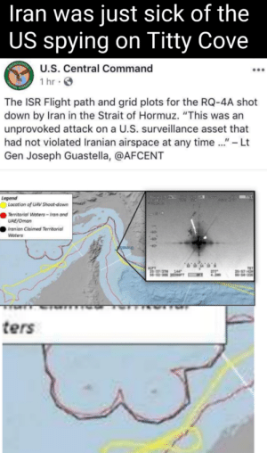 "Memes, Flight, and Iran: Iran was just sick of the  US spying on Titty Cove  UNITED  STATE  U.S. Central Command  1 hr  CENTRAL  The ISR Flight path and grid plots for the RQ-4A shot  down by Iran in the Strait of Hormuz. ""This was an  unprovoked attack on a U.S. surveillance asset that  had not violated Iranian airspace at any time...""-Lt  Gen Joseph Guastella, @AFCENT  7754  IR  92519 AUTO  Legend  Location of UAV Shoot-down  Territorial Waters-Iran and  UAE/Oman  Iranian Claimed Territorial  Waters  TST  25 57:2  4:50:226  ACFT  25:57:2  4:52:31 2240FT  144  ters These World War 3 memes are sexier than predicted."