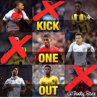 """Memes, 🤖, and One: irat  KICK  ONE  OUT  20  Base Kick One Out """"Youngsters"""" (4) Sane is out! Comment the youngster you think has the LEAST potential, the biggest talent will remain 🔥 Follow me @footy.base for more! ❤️"""