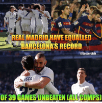 Memes, Real Madrid, and Emirates: irate  Emir  REAL MADRID HAVE EQUALLED  MBARCELONA'S RECORD  @Soccerclub  A iSCO  OF 39 HAMESUNBEATEN CALL COMPS)