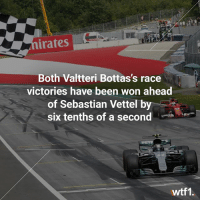 Déjà vu from the Russian Grand Prix! 🏁 f1 formula1 austriangp valtteribottas wtf1: irates  Both Valtteri Bottas's race  victories have been won ahead  of Sebastian Vettel by  six tenths of a second  wtf1. Déjà vu from the Russian Grand Prix! 🏁 f1 formula1 austriangp valtteribottas wtf1