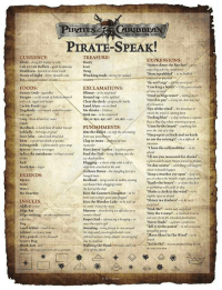 "Bones, Booty, and Crazy: IRATESRIBBEAN  ON STRANGER TI  PIRATE-SPEAK!  CURRENCY  Blunt-ang for moncy or cofm  Cob or Cob Dollars Rold doubloons  Doubloon Spaith or Astic Gold  Pieces of Eight-Siver Spanish cocn  TREASURE:  Booty  EXPRESSIONS  Batten down the hatches  ""Bum-squabbled to bx bafo  Loot  expecting adversc conditios  Swag  Wracking trade-ivins for sunken  cowfuseil or puzia  By and large thmst  Cracldng a bosde Lesopen a botle  of wine ar nm  Dead as bilge water- rotting dead  ""Devil to pay-seing no dear way out  FOODS  EXCLAMATIONS:  Blimey- to be surprised  Bunny Crub,wgctables  Burgoo -a vile mash of boded  with sait, segar and butter  Cackle-Fruit-  Dogsbody-so biscuit soakeal i water Me thinks beleve  Clear the deck-prepare for battle  Land Ahoy-to see lanuf  ""Eye of the wind-the directioe in  whrich the winid is coming from  Feeling blue-a ship without a captairn  flew a blue Mag when returming to port  ""Gone by the board-anthing lost  ink me-to be surprised  Aye or Aye, aye, sir! ..or, Arr-y  Grog Riwm diluted wel water  PUNISHMENTS  Clap in irons- to iron  Davy Jones' Locker-a watery srave  Hardtack a hard flour&water bisoat  Loblolly Porridge or grud  oer the side ofa sip  et to stop the seraming  Harp up in a clinch and no knife  to cut the seizings-m a difhicult a  sitartion  Poor John-salod and dried fish  Rum-apreferned drink of pirates  Sálmagundi- a parficaularly spicy soupes  Spirits hearty beverages  Splice the mainbrace to lurve several ed the Fish- being throvet into the  I have the collywobbles""-to be  Tack  Tooth Rot  sea dead opalive  Flogging- a short whip with a cat  inc tals attached at the ed.  I'll see you measured for chains  particulary masty threat feared bry pirates  In due coursesomthng will happen  Gallows Dance- the dangling fecd ofa wen it should happen  Keep a weather eye open keep an  ERIENDS:  Bucko  where the tro  Keelhaul tying wrists ankles, tossing  overboard then dragging uuder  the ked of the ship  Kiss the Gunner's Daughter toe  hent over a ship's guns and floggesd  Kiss the Wooden Lady -to be tiod up  R the bones- to shuke the dice  or gambling with cards ch dice  Shake a cloth in the wind-to  lightly tipsy or drunk  Shiver me timbers-to ie i  Me Hearties  INSULTS:  Addled crazy  Bilge Rat  Bilge sucking- an uncomplomentaryremote istan  round the mast  ofender on  Sink Me""-tobe ver suprioed  abamfoning an  Dog  Land-lübber-land lover  Lubber-a chumsy mut  Poxy poxed to be dhurased  Scurvy Dog  Sharkk Bait h  Swab-disrapectil bern for a seaman  Ropes End-referencing o hanging to not vany from the utendted destination  nect the rope  Sweating- bens forced to run around  the ship wntil you dropped while cre  utilicol various sharp objects kncouraging  ""Stay the Course. α nautical terror te  not vary from the intended destination  Sweet Trade- pinat's profession  Tell it to the parrot-t tell everyone  spreading sossip  Three Sheet To The Wind-to in  waltking the Plankwau  Ho Ho  putey hing ro  Yo Ho Hoatey thing to  米△+V 拳女崇"