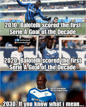 Mario Balotelli 😁 https://t.co/RNiHyoZZAw: IRE  2010: Balotelli scored the first  Serie A Goal of the Decade  fy TrollFootball  O TheFootballTroll  UBI  2020: Balotelli scored the first  Serie A Goal of the Decade  Banca  Marcos Fussballecke  Marcos Football Corner  UBI>  Banca  2030: If you know what i mean... Mario Balotelli 😁 https://t.co/RNiHyoZZAw
