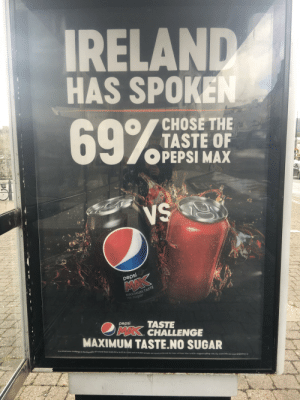 Was waiting for the bus, then i look to my left: IRELAND  HAS SPOKEN  69%  CHOSE THE  TASTE OF  OPEPSI MAX  VS  pepsi  MAK  MAXIMUM TASTE  pepsi  TASTE  MAX. CHALLENGE  MAXIMUM TASTE.NO SUGAR  In a blind taste challenge in the Republic of Ireland from 24.05.19 to 14.07.19, 1022 out of 16,902 people surveved preferred the taste of Pepsi Max to ROI's biggest selling cola, for more info see www.pepsimax.ie Was waiting for the bus, then i look to my left