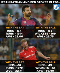 Memes, Statistics, and Irfan Pathan: IRFAN PATHAN AND BEN STOKES IN T20s  WITH THE BALL  WITH THE BAT  INNS 134  INNS 166  RUNS 1914  WICKETS 169  AVG 23.06  AVG 25.75  trose  NOT  WITH THE BAT  WITH THE BALL  INNS 49  INNS 68  WICKETS 32  RUNS 1272  AVG 36.40  AVG 22.71 Just a statistical comparison.