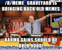 SO I HEARD WE UPVOTE REPOSTS HERE: IRIMEME GRAVEYARD IS  BRINGING BACK OLD MEMES  coat  KARMA GAINS SHOULD Shift  BE  e l l Mocking People  (MOCK) 8.1  Calvin & Hobbes (C&H) 6.1  Pictures of Cats (CATS) 8.24 Louts K.Glips (LCK 6A2 Good Guy Greg (GGG0,501 iSor SO I HEARD WE UPVOTE REPOSTS HERE