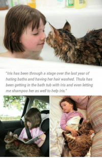 """<p><a href=""""https://epicjohndoe.tumblr.com/post/169523874543/kitty-helps-autistic-kid-with-anxiety-issues"""" class=""""tumblr_blog"""">epicjohndoe</a>:</p>  <blockquote><p>Kitty Helps Autistic Kid With Anxiety Issues</p></blockquote>: """"Iris has been through a stage over the last year of  hating baths and having her hair washed. Thula has  been getting in the bath tub with Iris and even letting  me shampoo her as well to help Iris."""" <p><a href=""""https://epicjohndoe.tumblr.com/post/169523874543/kitty-helps-autistic-kid-with-anxiety-issues"""" class=""""tumblr_blog"""">epicjohndoe</a>:</p>  <blockquote><p>Kitty Helps Autistic Kid With Anxiety Issues</p></blockquote>"""