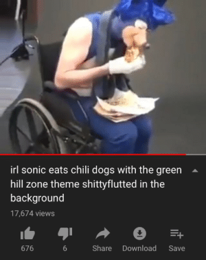 Me_irl: irl sonic eats chili dogs with the green  hill zone theme shittvflutted in the  background  17,674 views  Share Download Save  676 Me_irl