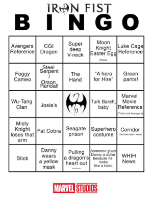 """superhero-news:  I loved the Luke Cage Bingo, so I made my own for Iron Fist!: IRN FIST  AvengersCG  Reference