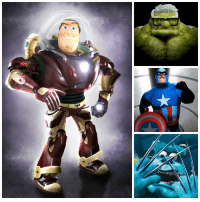 Ebaumsworld, Memes, and Pixar: Iron Buzz, Captain Incredible, The Incredible Carl, and hhmmm... What should Sulley's new Disney-Pixar Marvel mashup name be? 🤔 (via ebaumsworld.com)