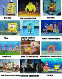 Avengers Age of Ultron, Iron Man, and Memes: Iron Man 2  Iron Man  The Incredible Hulk  Captain America:  Thor  Marvel's The Avengers  The First Avenger  Iron Man 3  Thor: The Dark World Captain America: The Winter Soldier  Guardians ofthe Galaxy Avengers: Age of Ultron  Ant-Man Spongebob had it all! 😂😂😂👍  #MarvelCinematicUniverse #MCU  #SpongeBobSquarePants