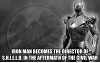 Iron Man, Memes, and Deadpool: IRON MAN BECOMES THE DIRECTOR OF  S.H.I.E.L.D. IN THE AFTERMATH  OF THE CIVILWAR Iron man becomes the director of S.H.I.E.L.D. in the aftermath of the civil war. - - •Art work by Jambal• • ironman civilwar deadpool xmen theavengers magneto groot marvel marvelcomics