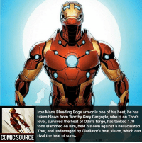 Disney, Facts, and Memes: Iron Man's Bleeding Edge armor is one of his best, he has  taken blows from Worthy Grey Gargoyle, who is  on Thor's  level, survived the heat of Odins forge, has tanked 170  tons slammed on him, held his own against a hallucinated  Thor, and undamaged by Gladiator's heat vision, which can  COMICSOURCE rival the heat of suns. This suit needs to be in the MCU _____________________________________________________ - - - - - - - Hulk Hawkeye Spiderman Daredevil Wolverine Logan Deadpool LukeCage CaptainAmerica Avengers Xmen StarWars Defenders Ironman DarthVader Doctorstrange Yoda SpidermanHomecoming Marvel ComicFacts Superhero Comics Like4ike Like Facts Disney DCcomics Netflix