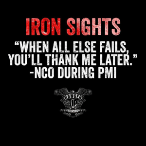 "You're welcome for my service.: IRON SIGHTS  ""WHEN ALL ELSE FAILS,  YOU'LL THANK ME LATER.""  -NCO DURING PMI You're welcome for my service."