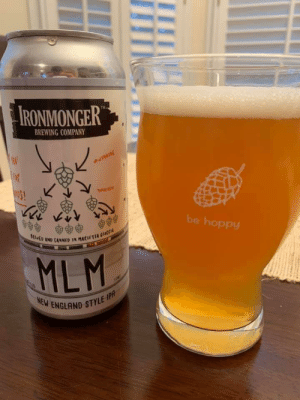 Local beer in Georgia. Love it!: IRONMONGER  BREWING COMPANY  wINING  be hoppy  SttED AND CANNED IN MACIETIA CECCIA  MLM  NEW ENGLAND STYLE IPA  R Local beer in Georgia. Love it!