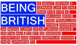 Old but gold: IS ABOUT IDRIVING A  GERMAN CAR ITOIAN  BELGIAN BEER  THEN TRAVELLING  HOME.GRABBING  AN INDIAN CURRY OR  A TURKISH KEBAB  THE WAYL,ITO SIT  FURNITURE AND WATCH AMERICAN  ONI.  JAPANESE TV   SHOWS Old but gold