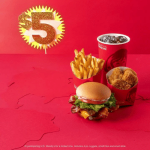 Dank, Wendys, and Giant: IS  At participating U.S. Wendy's for a limited time. Includes 4 pc nuggets, small fries and small drink. Right now you can get nuggets, fries, a drink and a GIANT Jr. Bacon Cheeseburger for only $5. It's kind of a big meal.