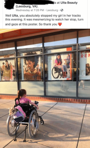 Being Alone, Thank You, and Girl: is at Ulta Beauty  (Leesburg, VA)  Wednesday at 7:20 PM Leesburg  Well Ulta, you absolutely stopped my girl in her tracks  this evening. It was mesmerizing to watch her stop, turn  and gaze at this poster. So thank you  RE It's nice to know you're not alone
